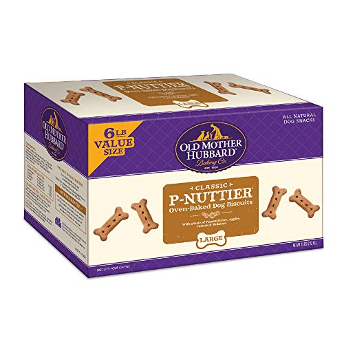Old Mother Hubbard Classic Crunchy Natural Dog Treat, P-Nuttier Large Biscuits Value Box, 6-Pound Box