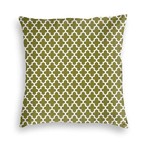 Hangdachang Olive Green Moroccan Velvet Soft Decorative Square Throw Pillow Covers Cushion Case Pillowcases for Sofa Chair Bedroom Car 18X18inch