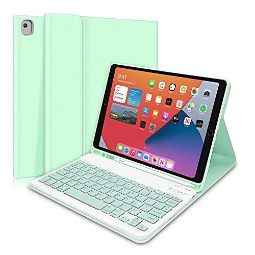HaoHZ Funda Teclado para iPad Mini 5.A / 4.A Generación de 7,9 Pulgadas, (Incluye Letra Ñ) Teclado Inalámbrico Desmontable con Portalápices, Funda Protectora De Piel Tipo Folio Inteligente,Verde