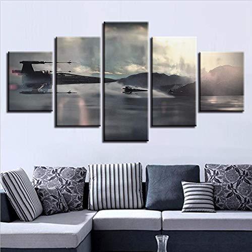 RuiYa Wall Art 100x55 CM 5 Marco Pintura decorativa Acorazado de aviones de cine de ciencia ficción 5 uds HD cuadro de pared de dibujos animados pinturas en lienzo arte de pared decoración para el hog