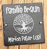 Haus Türschilder personalisiert aus Schiefer | Hausschild mit Lebensbaum und Namen graviert | als Hausnummer Landhaus Schiefer einsetzbar | Familien Hausschild