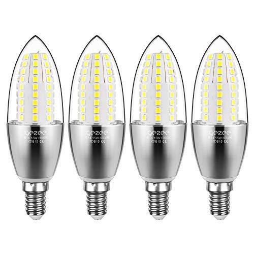 Gezee Les balles Forme à LED Ampoules E14 15W, 1500LM, Blanc Froid 6000K équivalent à 120W Ampoule à incandescence, Torpedo Forme, LED bougie ampoules, non dimmable, Lot de 4