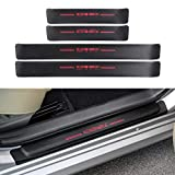 CKE Door Entry Guard Sticker Threshold Bar Anti-Dirty Scuff Plate Carbon Fiber Style for Camry 2020 2019 2018 Front Rear Door Sill Protector - Red