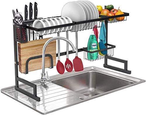 DJSMsnj Almacenamiento de cocina, escurridor de fregadero de acero inoxidable para cocina, organizador de almacenamiento de cubiertos