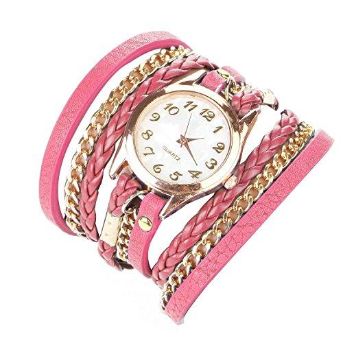 Minetom Orologio a Quarzo Classic Rotondo Rivetto da Donna Orologio da Polso (Pink)