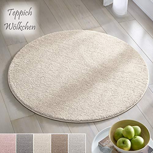 Teppich Wölkchen Kurzflor Teppich I Flauschige Flachflor Teppiche fürs Wohnzimmer, Esszimmer, Schlafzimmer oder Kinderzimmer I Einfarbig I Creme - 160 rund