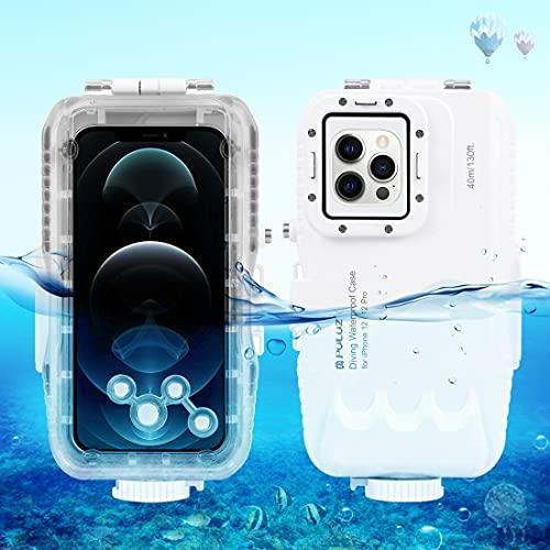 PULUZ Schutzhülle für iPhone 12/12 Pro, professionelle Unterwasser-Fotografie-Gehäuse, 40 m, Tauchen, Surfen, Schwimmen, Schnorcheln, Unterwasserfotografie, Gehäuse für iPhone 12/12 Pro