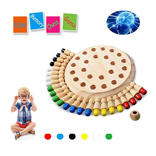 HOWADE Wooden Memory Matchstick Chess Game Block Board Educational Intelligent Games Logic Brainteaser Activity Toys for Boys and Girls