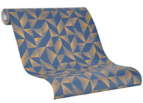 Tapete Blau Gold - Vliestapete Luce - 2020 SCHÖNER WOHNEN Kollektion - Grafisch - für Schlafzimmer, Wohnzimmer oder Küche Formen, Sträucher, Muster - 10,05m x 0,53m - Neu