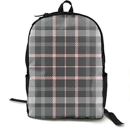 Osmykqe Plaid Check Patten Shades Gray Pink Hiking Outdoor Camping Backpacks for Men and Women