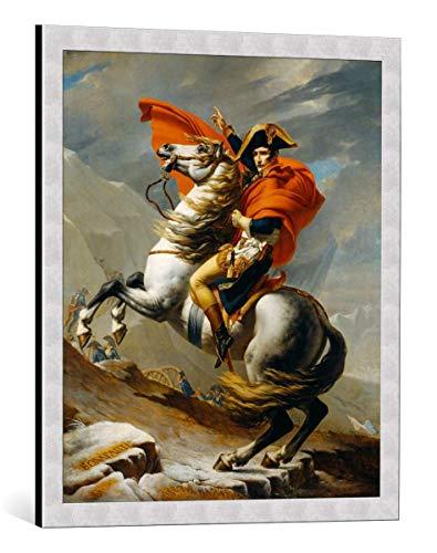 kunst für alle Quadro con Cornice: Jacques-Louis David Napoleon bei der Überquerung der Alpen - Stampa Artistica Decorativa, Cornice di Alta qualità, 60x70 cm, Argento Spazzolato