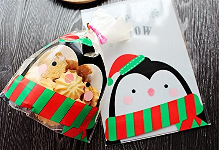 Charmed Christmas Penguin Gift Bags / Let's Snow Clear Plastic Bags / Cello Bags (14 x 20 cm / 100 pcs ) Christmas Packaging Supplies