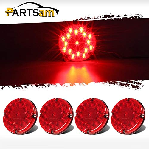 """Partsam 4Pcs Red 7"""" Round Bus Stop Brake Tail Lights STT 17 LED Sealed LED Stop/Turn/Tail School Bus Light for Trucks Trailers Towing RVs Buses ATVs Utility Vehicles"""