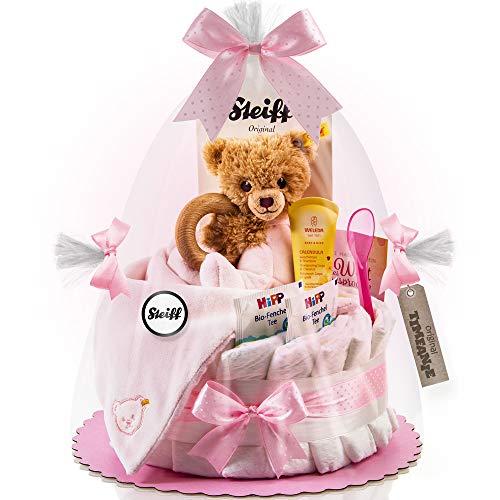 Timfanie® Windeltorte   Steiff Bärchen 3in1   1-stöckig   rosa-punkt   Windeln Gr. 2 (Baby 4-8 Kg)