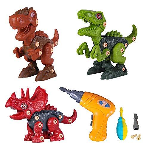 Volbaby Dinosaurios Juguetes con Taladro Eléctrico, DIY Desmontar Juguetes De Animales, Velociraptor Tyrannosaurus Triceratops Asamblea Dinosaurio De Juguete para Niños