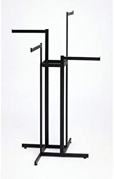 Clothing Rack – Black 4 Way Rack, Adjustable Height Arms, Blade Arms, Square Tubing, Perfect for Clothing Store Displ...