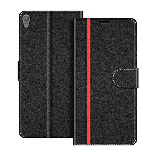 COODIO Handyhülle für Sony Xperia E5 Handy Hülle, Sony Xperia E5 Hülle Leder Handytasche für Sony Xperia E5 Klapphülle Tasche, Schwarz/Rot