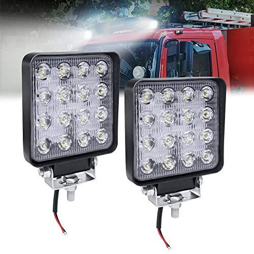 HENGMEI 2 X 48W LED Faro de trabajo Luz de Trabajo Lámpara Antiniebla Focos de Coche Reflector led para Todoterreno,Camion,Tractor (2X48W, cuadrado)