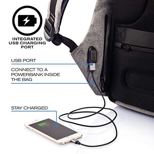 XD Design Bobby Original Anti-Theft Laptop USB Backpack Grey (Unisex Bag)