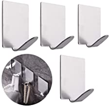TOUA 4pcs/Set Stainless Steel 3M Self Adhesive Wall Hook Seamless Door Sticky Hanger Key Coat Holder Hook Bathroom Towel Hanger