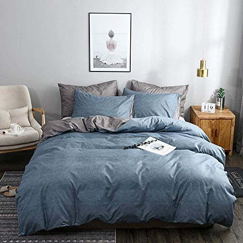 Michorinee Blue and Grey Double Duvet Cover Set Reversible Plain Dye Blue Bedding Set with Pillow Cases 3 pcs Microfiber Easy Care Super Soft Quilt Cover