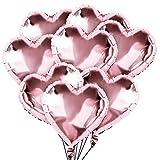 50 Piezas Globos de Corazón Oro Rosa Globos de Papel de Aluminio, Globo de lámina, Globos en Forma de Corazón para la Decoración del Partido Propuesta de Matrimonio Boda Aniversario Cumpleaños