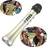 Micrófono Inalámbrico Karaoke Bluetooth Salida 15W Micrófono de Karaoke de FM Car Smart DSP IC Reproductor de Altavoces Portátil Mini KTV para el Hogarpara iPhone Android Smartphone ( color : Oro )