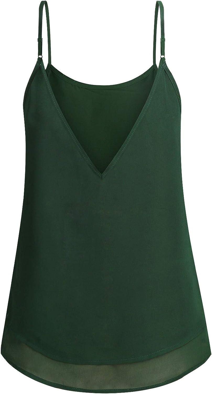 ZKHOECR Women's Chiffon Layered Camisole Summer Spaghetti Strap Cami Tank Tops