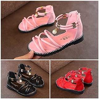 Summer Girls Roman Sandals Toddler Girl Beach Open Toe Shoes New Fashion Children Princess Gladiator Sandals(Red,33)