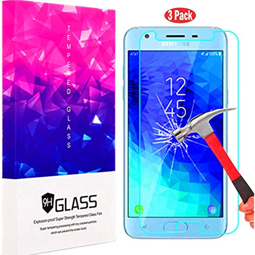 Galaxy J3 2018 Screen Protector, Folice 2.5D Arc Edges Anti Scratch Anti-Fingerprint Tempered Glass Screen Protector for Samsung Galaxy J3 Express Prime J337A/J3 Prime 2 J337T/J3 Emerge 2018 (3 Pack)