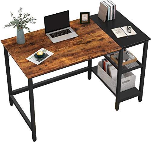 HOMIDEC Büro-Schreibtisch, Computertisch mit Bücherregal, PC-Schreibtisch für Heimarbeiten mit Aufbewahrungsregalen, Schreibtischen und Arbeitsplätzen für Home Office Schlafzimmer, 120 x 60 x 75 cm