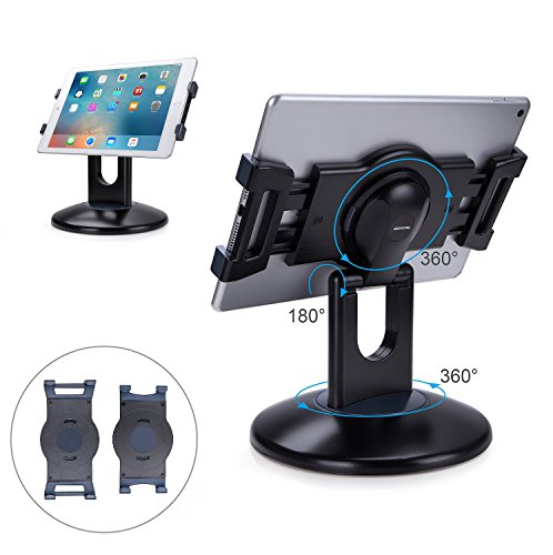 AboveTEK Retail Kiosk iPad Stand, 360° Rotating Commercial Tablet Stand, 6-13.5' iPad Mini Pro Business Tablet Holder, Swivel Design for Store POS Office Showcase Reception Kitchen Desktop (Black)