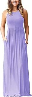 Women's Sleeveless Racerback Loose Plain Maxi Dresses...