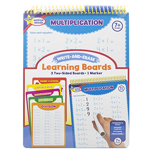 Active Minds - Write-and-Erase - Wipe Clean Learning Boards Ages 7+ - Multiplication, Division, USA