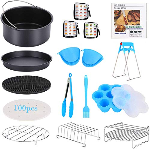 17 Pcs Air Fryer Accessories with Recipe Cookbook Compatible with Growise Phillips Cozyna Fit All Air Fryer 3.2QT - 5.8QT, 7in Deep Fryer Accessories