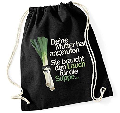 Siviwonder Turnbeutel - Lauch MUTTER Suppe - FUN Baumwoll Tasche lustiger Spruch schwarz