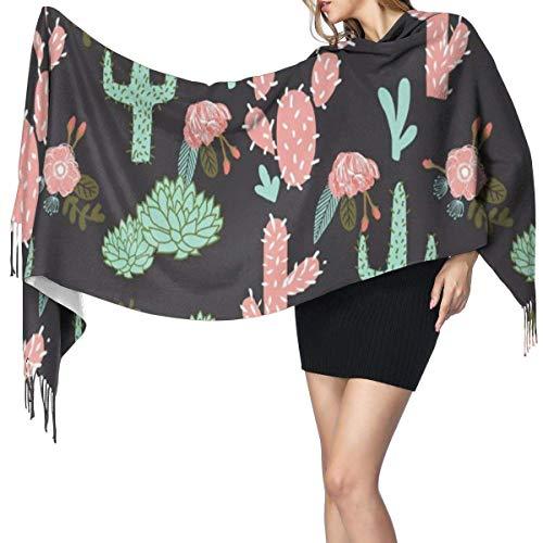 Bufanda de Invierno Para Mujer Chal Pashminas Cactus Flores Chicas Lindas Cactus Rosa Grande Larga de 196 * 68CM Chal Invierno Cálida Grande Larga Suave Manta para Mujeres