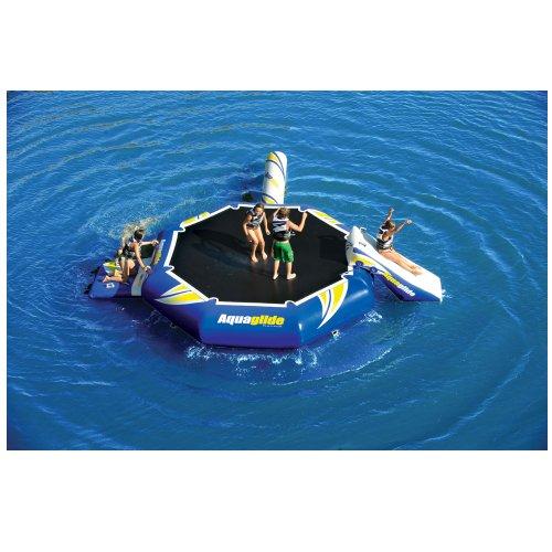 Aquaglide Aquapark Rebound 16 Set w. Slide, I-Log - Aquaglide Wasserpark mit Wassertrampolin, Wasserrutsche & Ilog (Balancebalken)