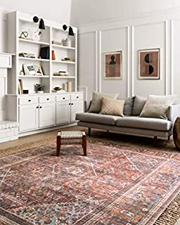"Loloi Rugs LORELQ-13BKMD Loren Collection Area, 8'-4"" X 11'-6"", Brick/Midnight (B07B53L24N) 
