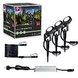 Paulmann Plug & Shine Outdoor Beleuchtung Basisset - 3er-Set LED Außenbeleuchtung mit Erdspieß für den Garten - dimmbar und wetterfest - Energieklasse A++ - 93696