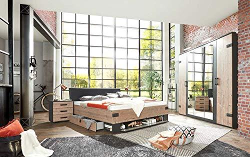 lifestyle4living Schlafzimmer Komplett Set in Silber Eiche-Dekor und Graphit, 4-teilig | Komplettset mit Drehtürenschrank, Bett und Nachtschränken im Industrial-Stil