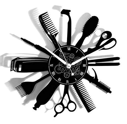 NACHEN Salon De Coiffure Horloge Vinyle Salon De Coiffure Cheveux Hipster Coiffeur Salle De Vinyle Horloge Décor Art Vinyle Horloge Unique Décorations Artisanales (color32, 12inch)