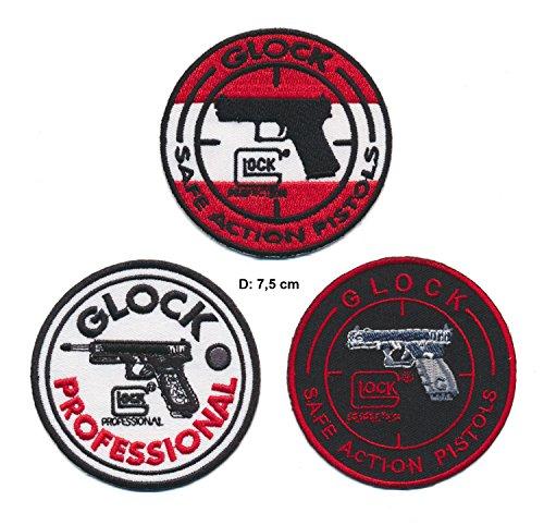 RG20 Glock Patches Aufnäher 3 Stück Waffen Pistolen Schützensport