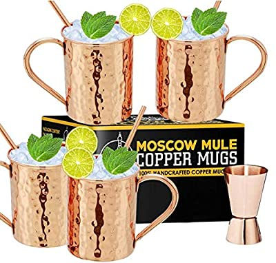 Moscow Mule Copper Mugs - Set of 4, 100% Handcrafted Pure Solid 16 oz Copper Mugs - Gift Set With Cocktail Copper Straws and Jigger