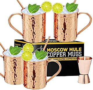 Moscow Mule Copper Mugs - Set of 4, 100% Handcrafted Pure Solid Copper Mugs 16 oz - Premium Gift Set With Cocktail Copper ...