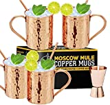 Moscow Mule Copper Mugs - Set of 4, 100% Handcrafted Pure Solid 16 oz Copper Mugs - Gift Set With...