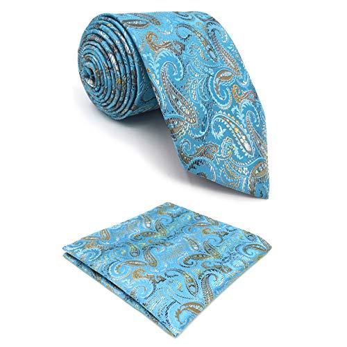 shlax&wing Cachemir Azul Corbatas Para Hombre Seda Suit Set Corbata Flaca Extra Largo