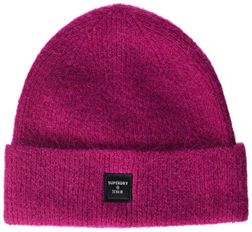 Superdry Womens SUPER LUX Beanie Hat, Fenway Pink, OS