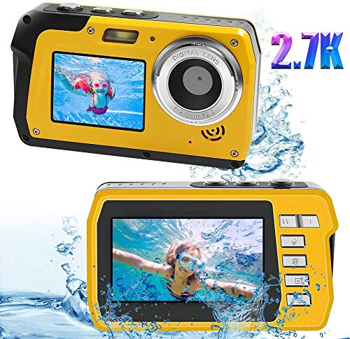デジカメ 防水 防水カメラ 水中カメラ デジタルカメラ 2688x1520 2.7K フルHD 4800万画素数 デュアルスクリーン 自撮り セルフィー オートフォーカス 水に浮く 16倍デジタルズーム デジタルカメラ ビデオレコーダー シュノーケリング用カメラ スポーツカメラ