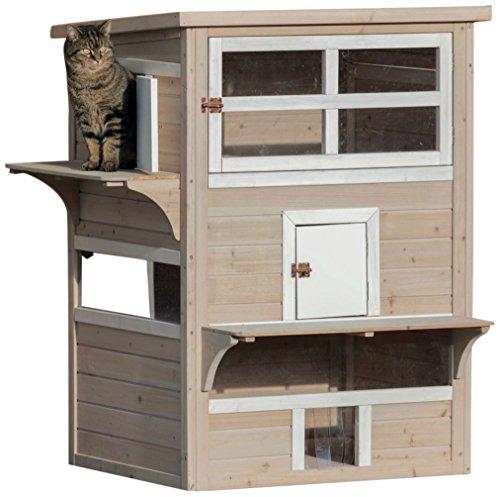 3 Floor Cat House For Outside XX-Large  Gray/White